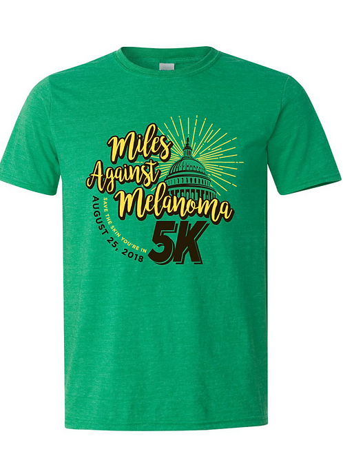 2018 Green Miles Against Melanoma 5K race shirt