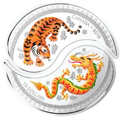 Yin and Yang coin: Tiger and Dragon