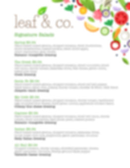 leaf & co. menu page 1