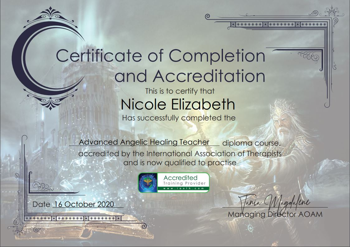 Advanced Angelic Healing Trainer diploma