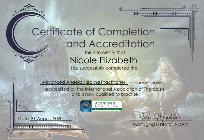 Advanced Angelic Healing Practitioner Diploma Certificate