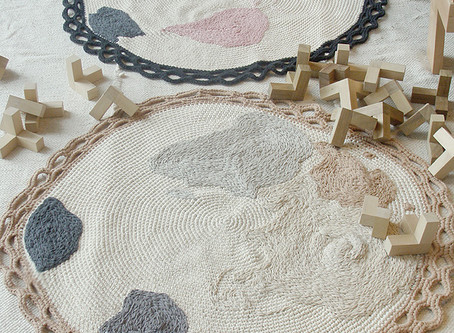 two world map carpets hand embroidered
