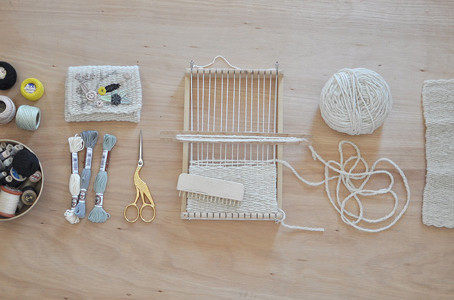 weaving an embroidery