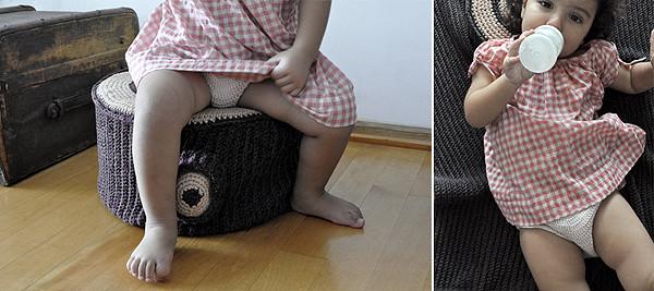 Puff chico + almohadón mini y manta para bebé.