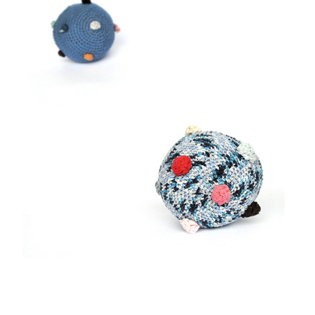 blue balls with pompoms and sound