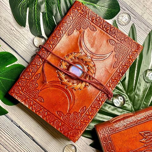 Triple Moon Leather Manifestation Journal