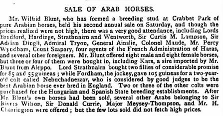 Crabbet Stud horse sale of 1884