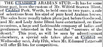 CRabbet Stud horse sale of 1889-1
