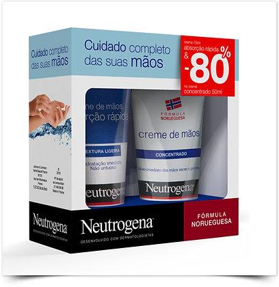 Neutrogena Pack Mãos Creme Absorção Rápida + Creme Concentrado - 80% Desconto