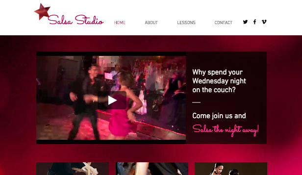 Podiumkunsten website templates –  Latin dance studio