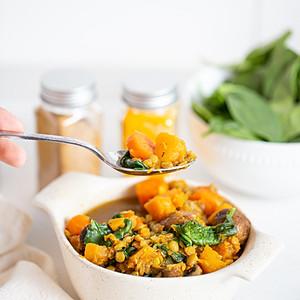 green lentil sweet potato stew