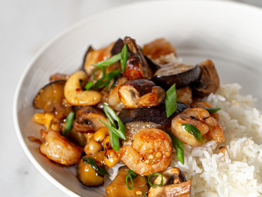 Asian shrimps with garlicky eggplant