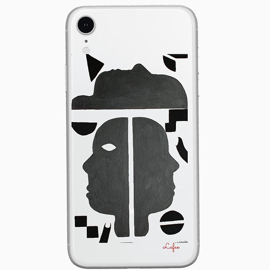 Faces 4, White IPhone Case with black designs