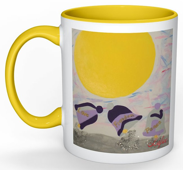 Love, Freedom, and Peace ceramic mug
