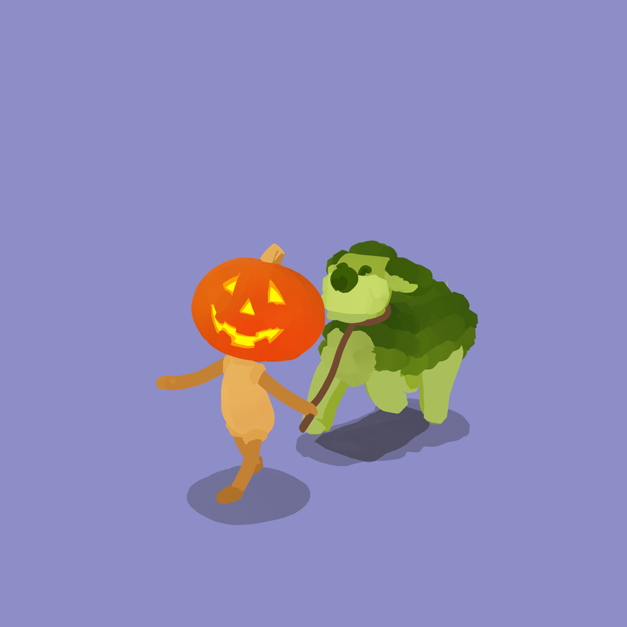 Pumpkin Head and Brocopup