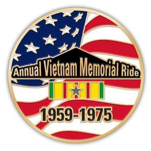 "Annual Vietnam Memorial Ride Pin (1.5"" Diameter)"