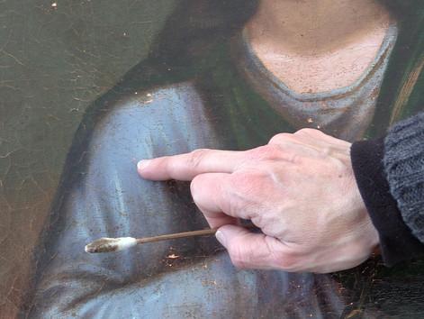 Restauration d'un tableau de Sainte Agathe