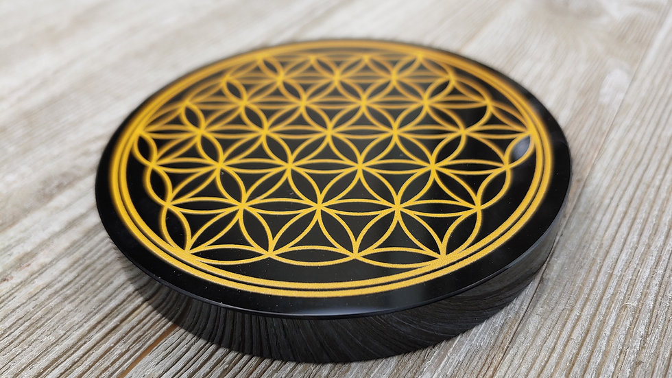 Obsidian Flower of Life Charging Plate 4 Inch