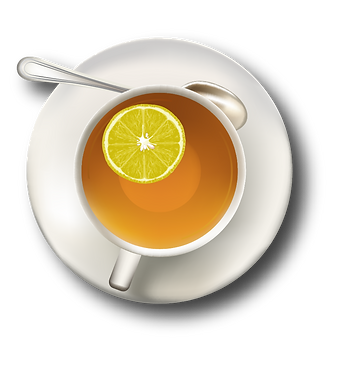Cup of green tea with lemon
