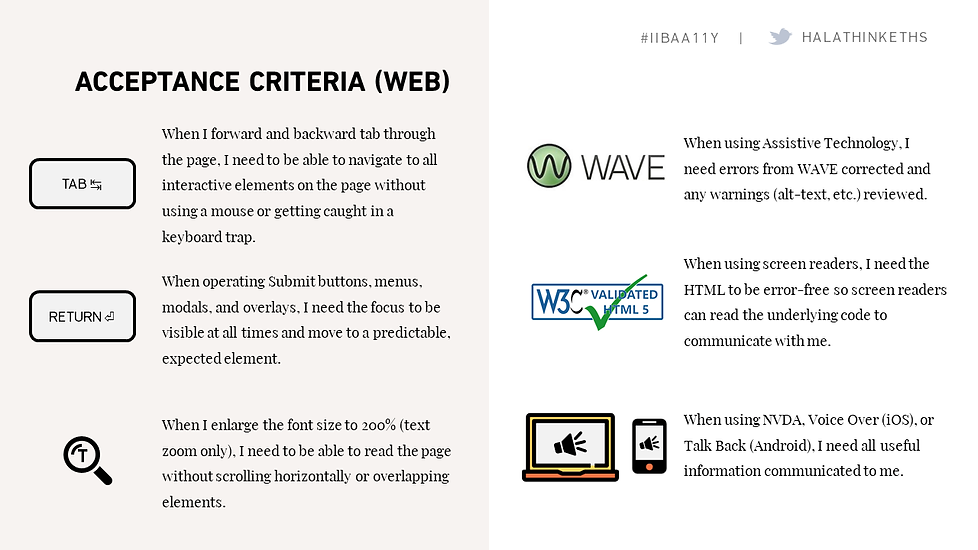Slide from presentation, showing accessibility acceptance criteria