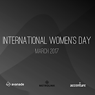 Meeting Room with International Women's Day title slide on screen