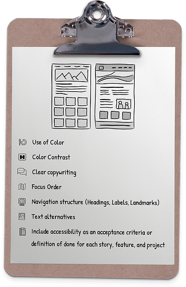 Clipboard with list of Accessiblity essentials, like Color Contrast