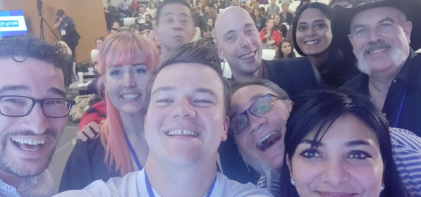 """Selfie of most of the speakers on stage, dubbed a11yTO's """"Ellen Oscars moment"""""""