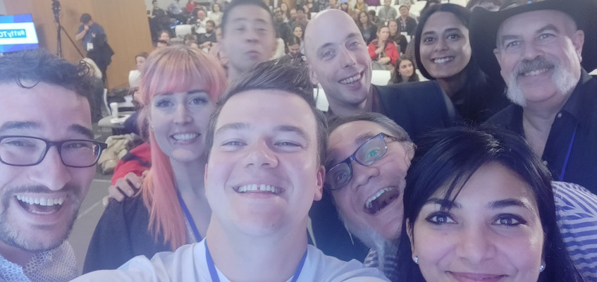 "Selfie of most of the speakers on stage, dubbed a11yTO's ""Ellen Oscars moment"""