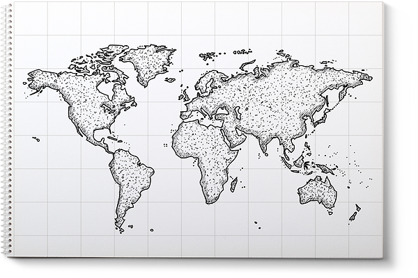 World Map with Toronto, Canada pinpointed