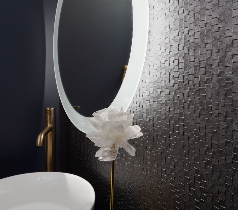 Textured Wall Vinyl feature in Powder Room
