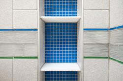 Blue vertical shower box