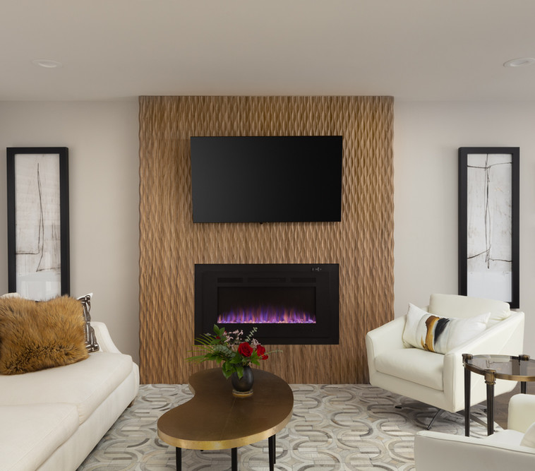 Textured Wood Fireplace Wall in Living Room