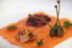 Salmon carpaccio with crispy chive and f