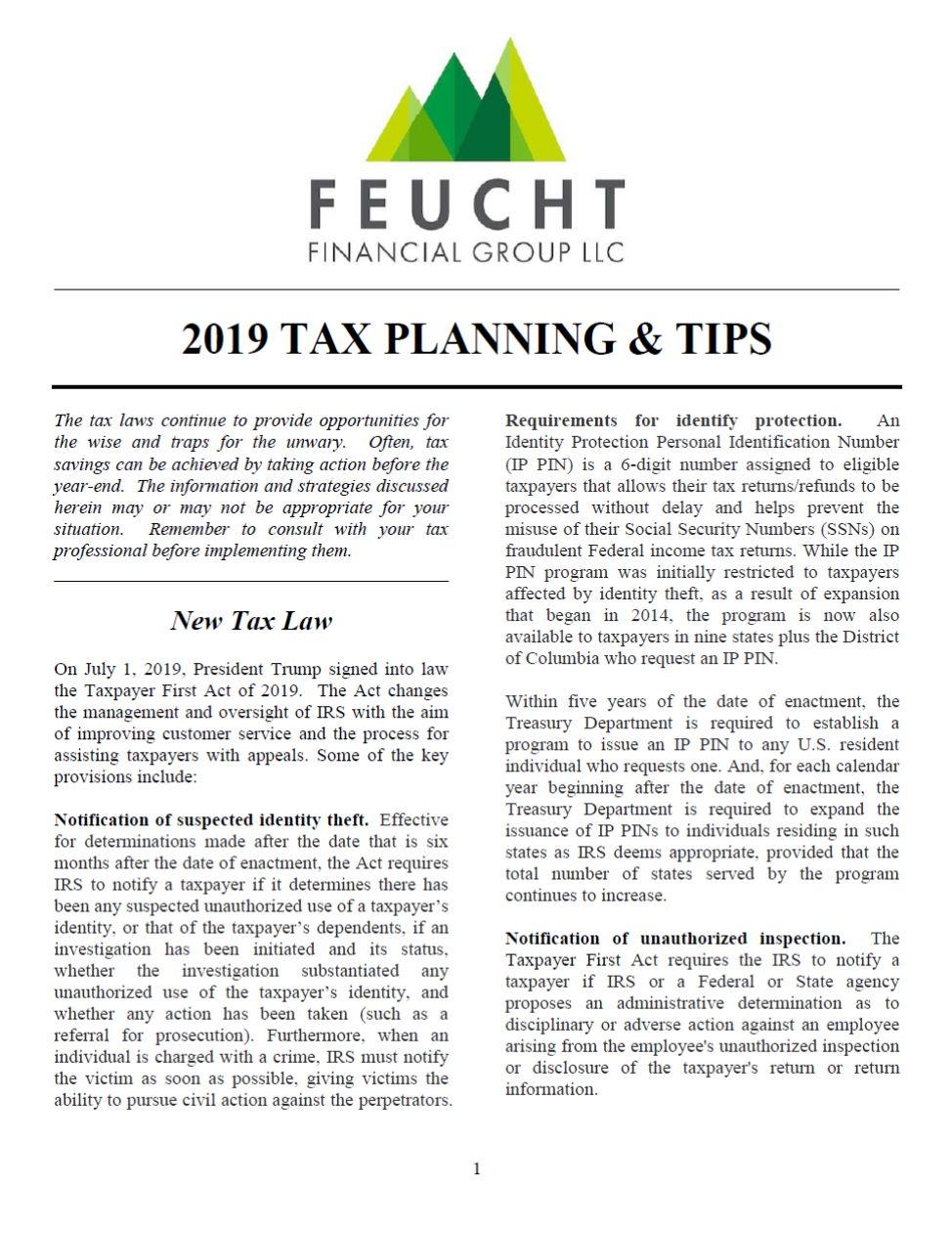 2019 Tax Planning