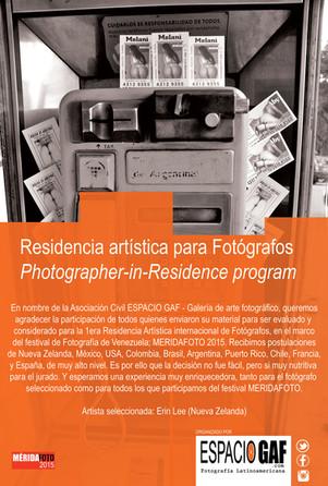 Erin Lee, seleccionada para la Residencia internacional de fotografía ESPACIO GAF