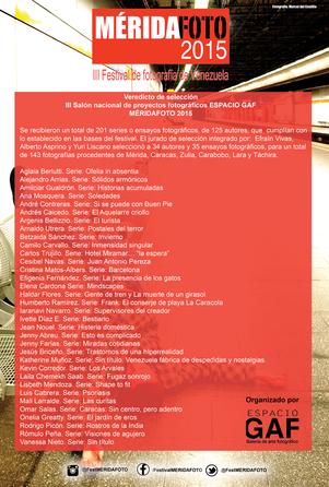 Veredicto de selección del III Salón nacional de proyectos fotográficos ESPACIO GAF
