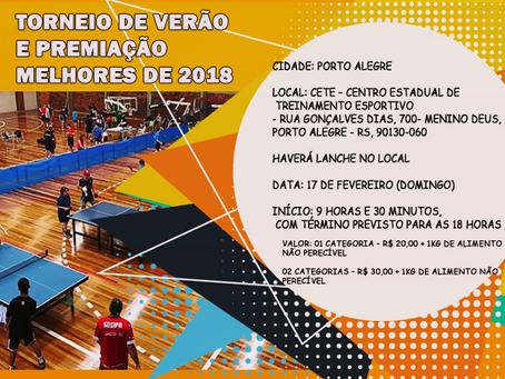 Torneio de Verão e Premiação Melhores de 2018!!!
