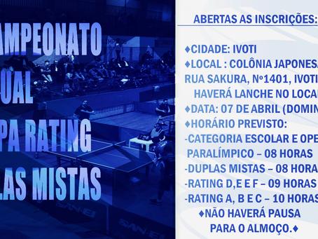 45º Campeonato Estadual 1ª Etapa Rating e Duplas Mistas