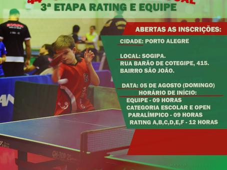 44º Campeonato Estadual - 3ª Etapa Rating e Equipe