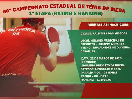 46º Campeonato Estadual de Tênis de Mesa - 1ª Etapa (Rating e Ranking)