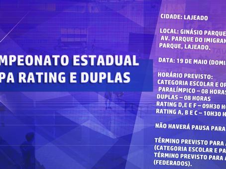 45o Campeonato Estadual 2a Etapa Rating e Duplas