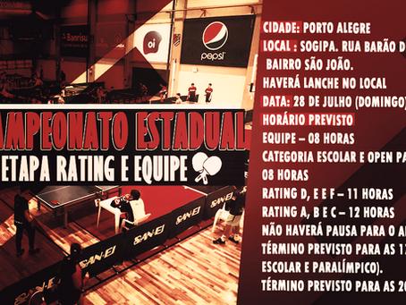45º Campeonato Estadual 3ª Etapa Rating e Equipe