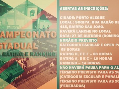 45º Campeonato Estadual 4ª Etapa Rating e Ranking