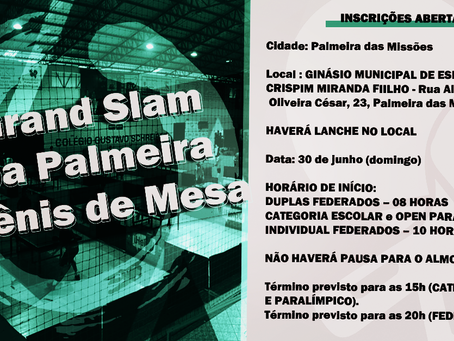 3º Grand Slam – Copa Palmeira de Tênis de Mesa