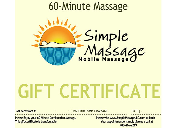 Six 60-Minute Massage Gift Certificates