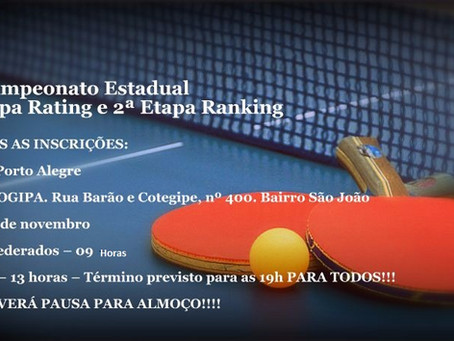 41º Campeonato Estadual: 4ª Etapa Rating e 2ª Etapa Ranking
