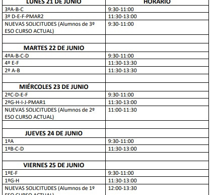FECHAS DEVOLUCIÓN LIBROS DEL PROGRAMA ACCEDE
