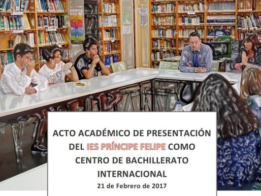 Acto académico de presentación de nuestro instituto como centro de Bachillerato Internacional