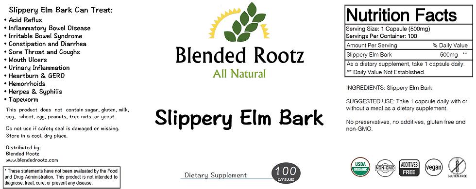 Slippery Elm Bark (Organic)- 100 Capsules