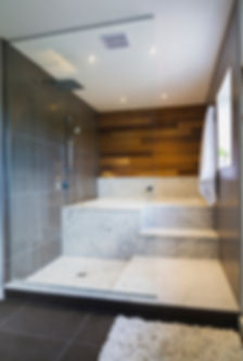 Large shower with carrara marble